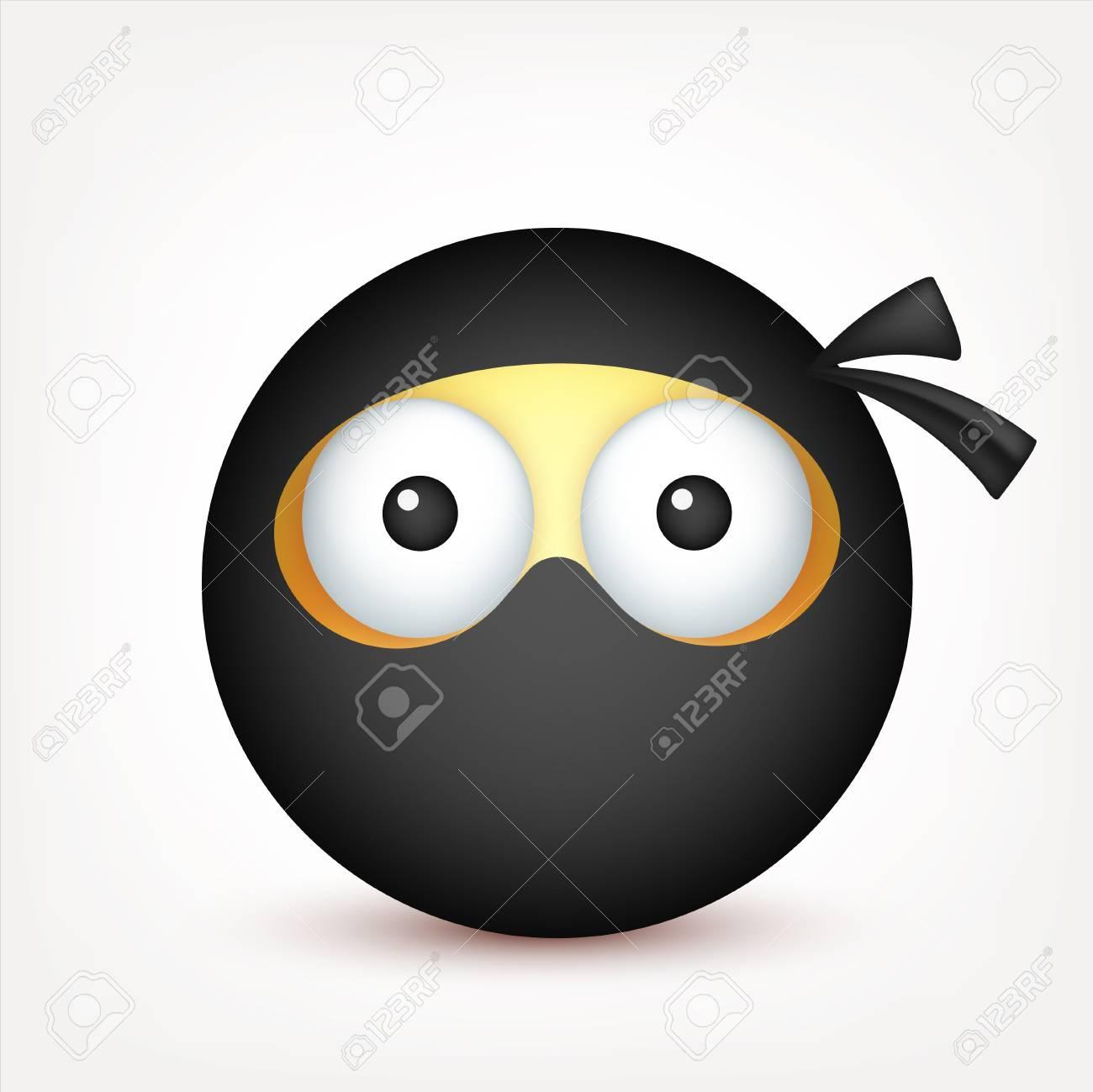 Smiley Emoticone Ninja Visage Jaune Avec Des Emotions Expression Faciale Emoji Realiste 3d Personnage Drole De Bande Dessinee Icone Web Illustration Vectorielle Clip Art Libres De Droits Vecteurs Et Illustration Image 79566385