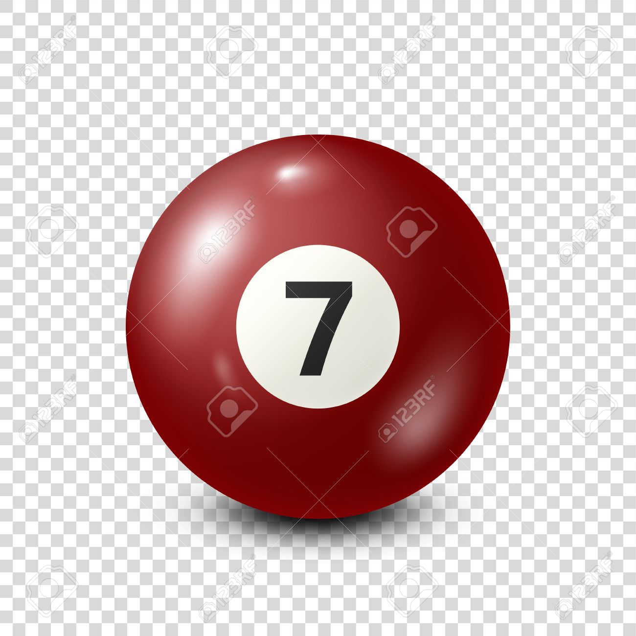 Billiard,red pool ball with number 7.Snooker. Transparent background.Vector illustration. - 80446028