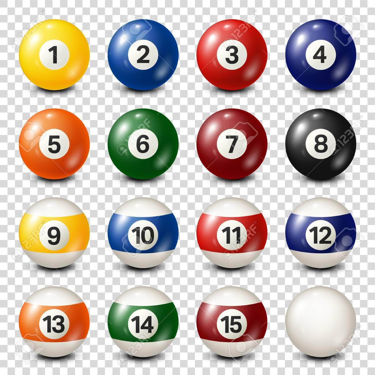 Billiard,pool balls collection. Snooker. Transparent background. Vector illustration. - 80446031