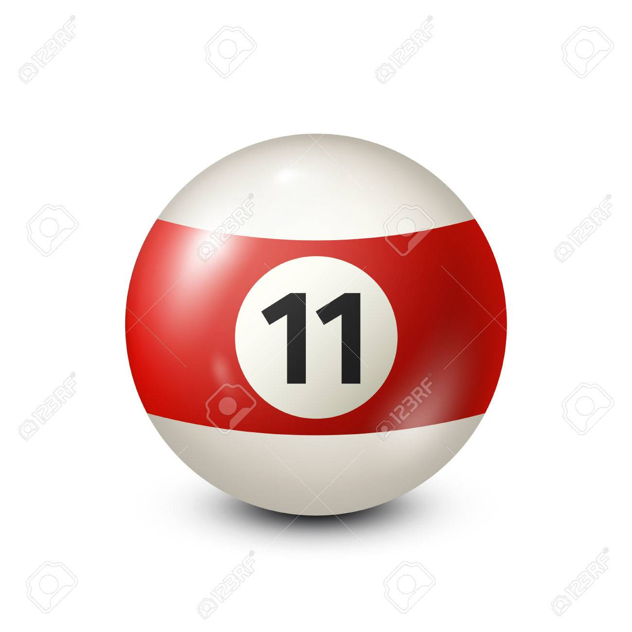 Billiard,red pool ball with number 11.Snooker. Transparent background.Vector illustration. - 80446035