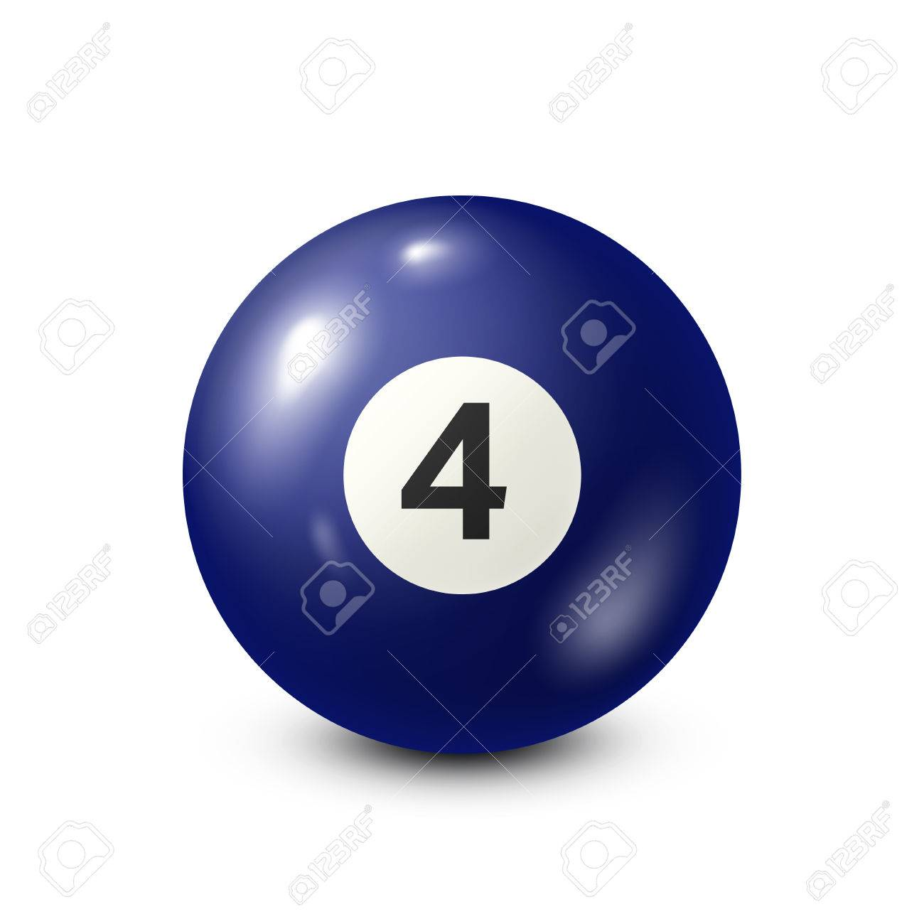 Billiard,blue pool ball with number 4.Snooker. White background.Vector illustration. Banque d'images - 80446072