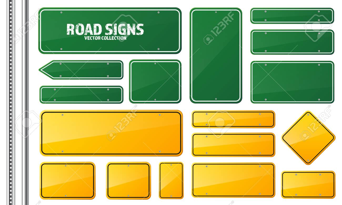 Road green and yellow traffic sign. Blank board with place for text.Mockup. Isolated information sign. Direction. Vector illustration. - 81810089