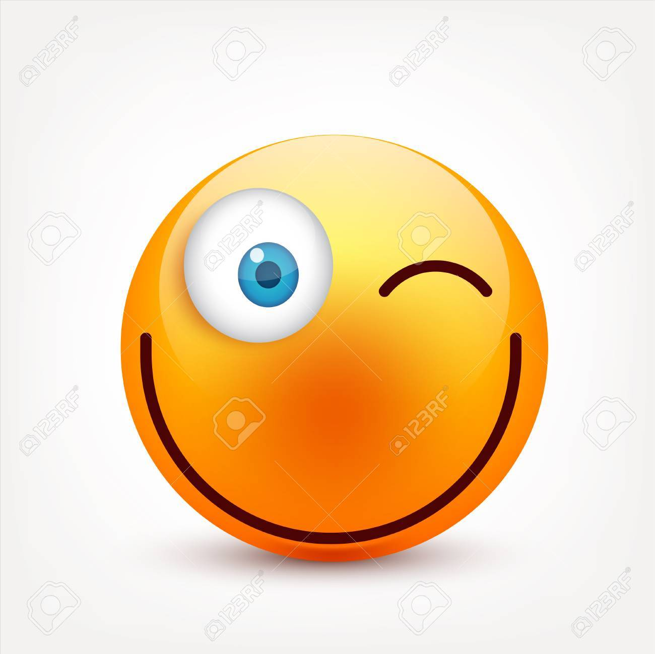 Smiley with blue eyes,emoticon set. Yellow face with emotions. Facial expression. 3d realistic emoji. Sad,happy,angry faces.Funny cartoon character.Mood.Vector illustration. - 83910881