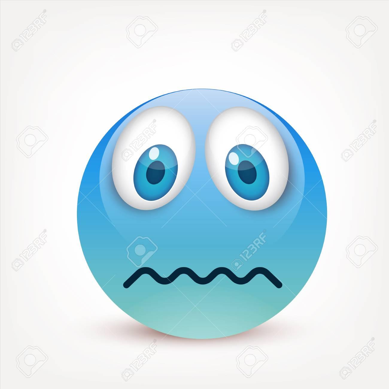 Smiley Con Ojos Azules Emoticon Cara Azul Con Emociones Expresión