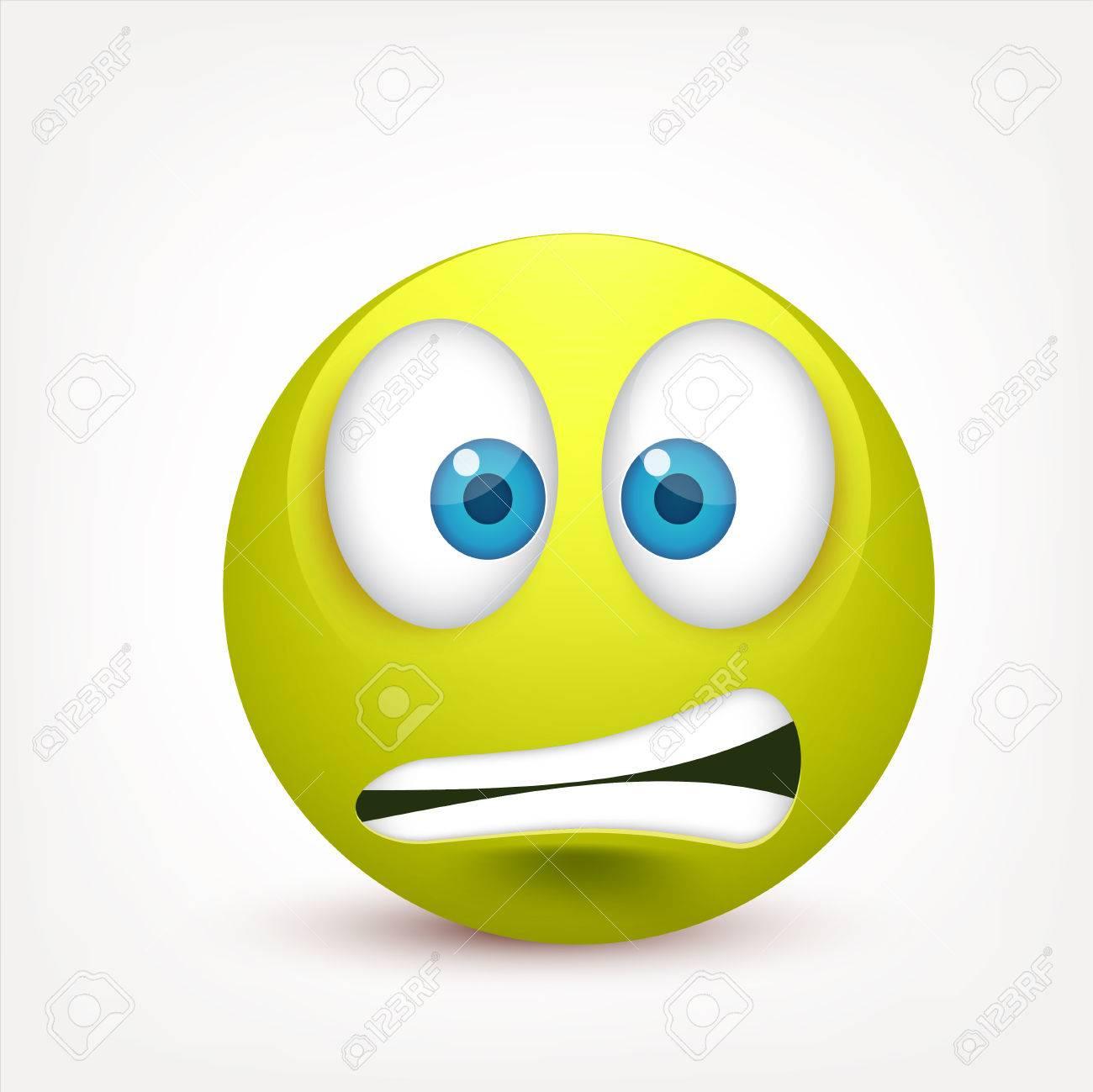 Smiley Con Ojos Azules Emoticon Cara Verde Con Emociones