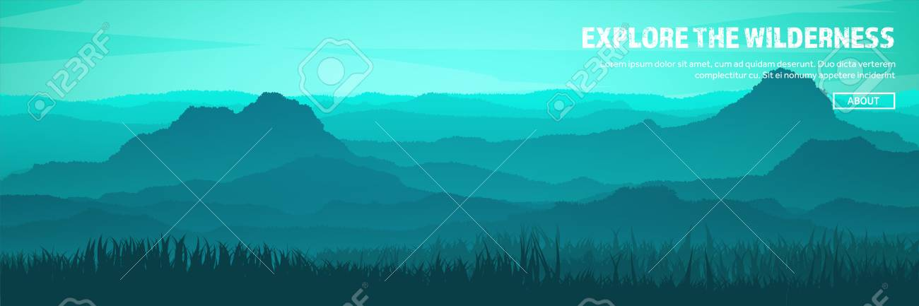 Mountains and forest header. Wild nature landscape. Travel and adventure.Panorama. Into the woods. Horizon line.Trees,fogfog. - 84674910