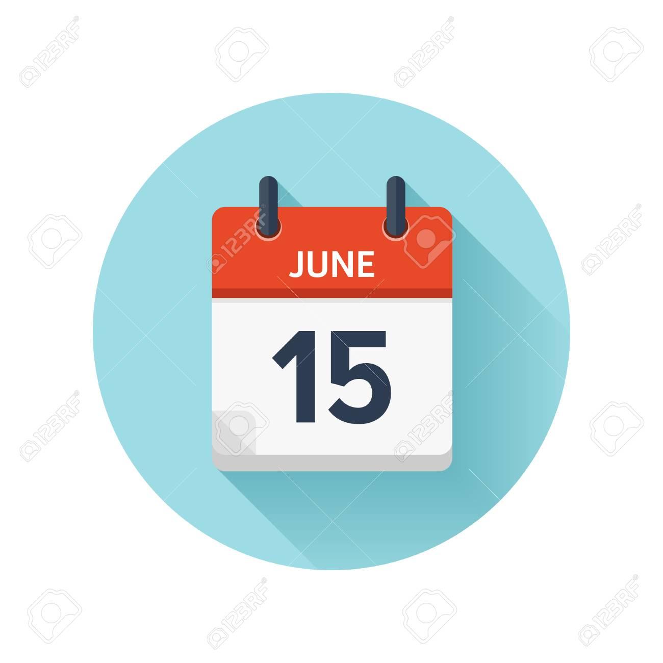 Calendario Vectores.15 De Junio Icono De Calendario Plano Diario De Vector Fecha Y Hora Dia Mes 2018 Vacaciones Temporada