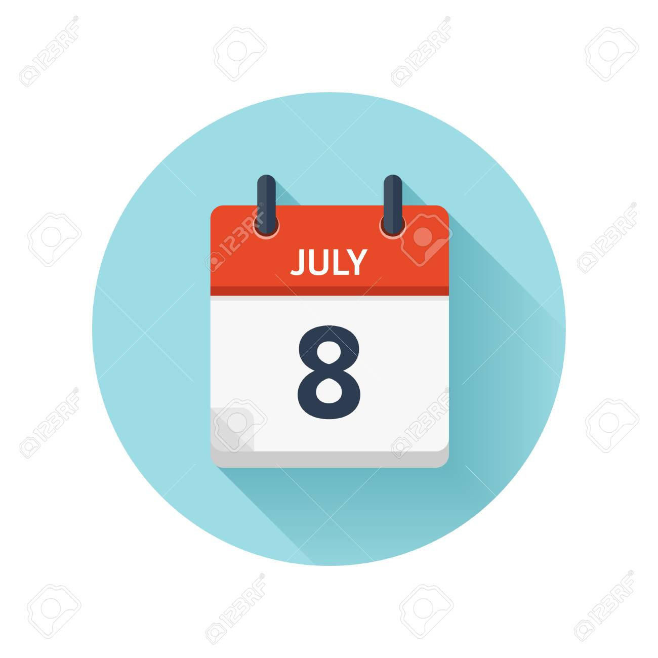 Daily Holiday Calendar.July 8 Vector Flat Daily Calendar Icon Date And Time Day