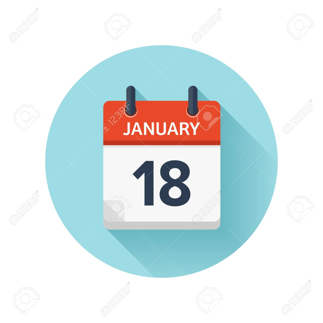 January 18 Vector Flat Daily Calendar Icon Date And Time Day