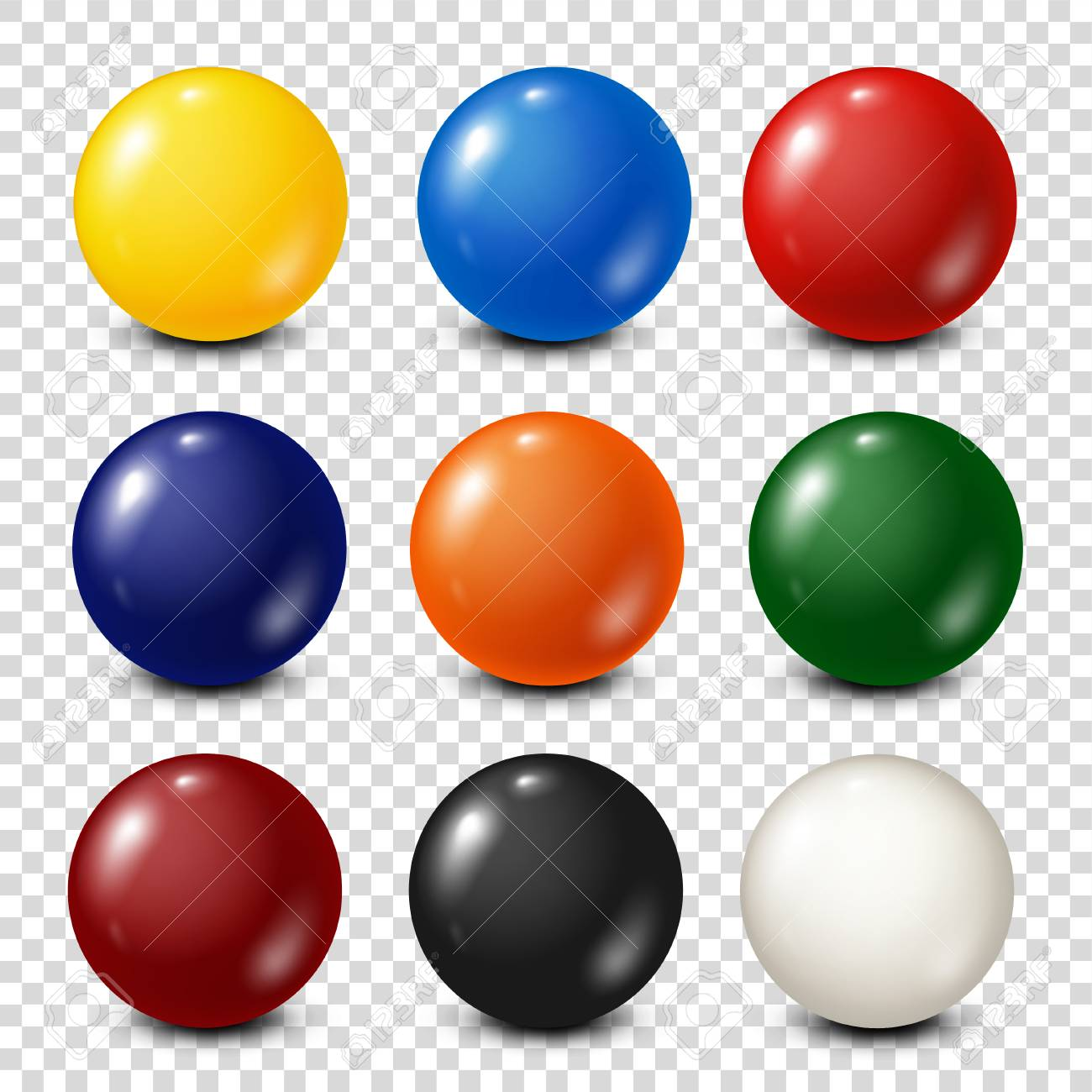 Lottery, billiard,pool balls collection. Snooker. Transparent background. Vector illustration. - 87425582