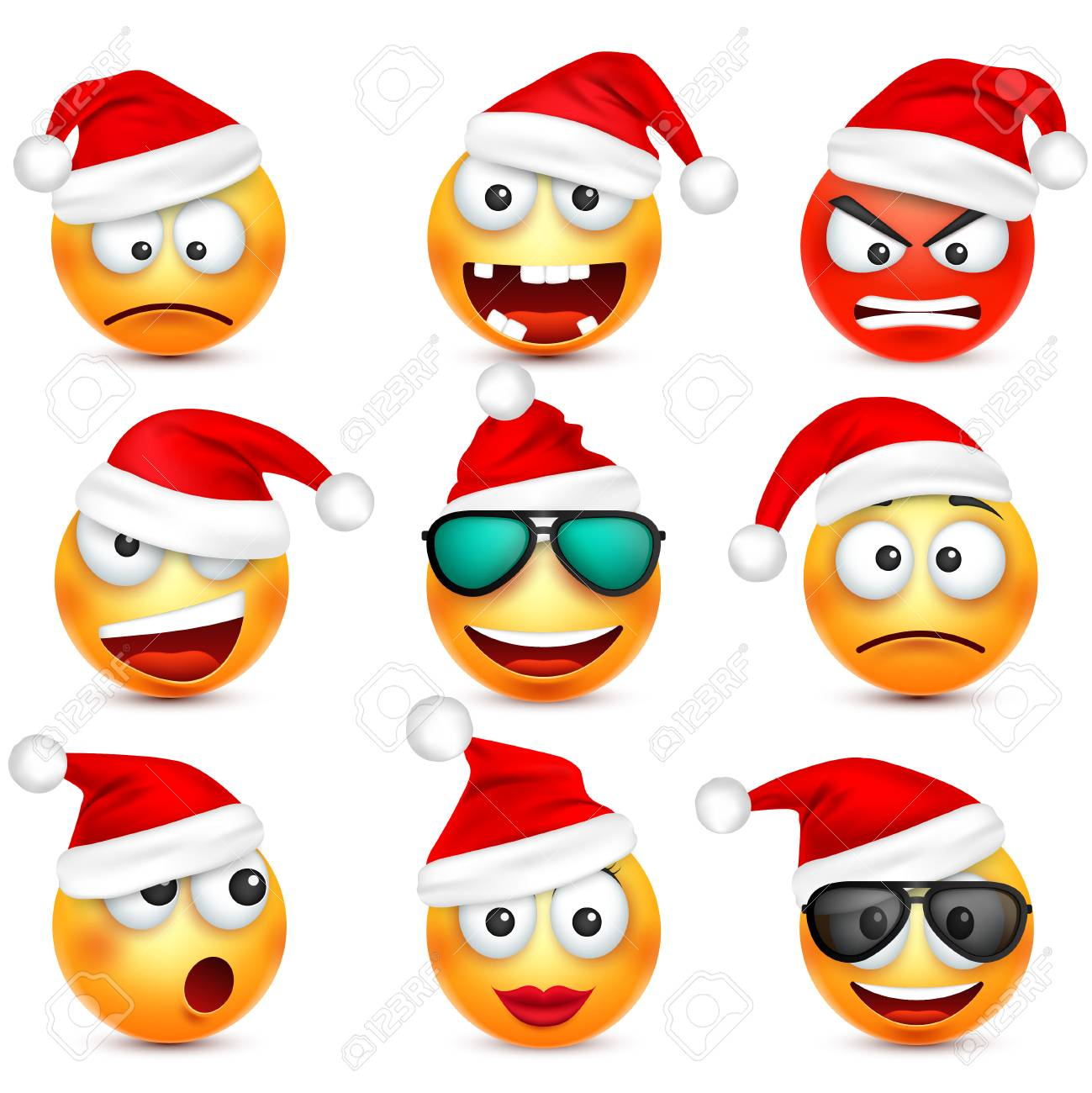 Smiley emoticon set  Yellow face with emotions and Christmas
