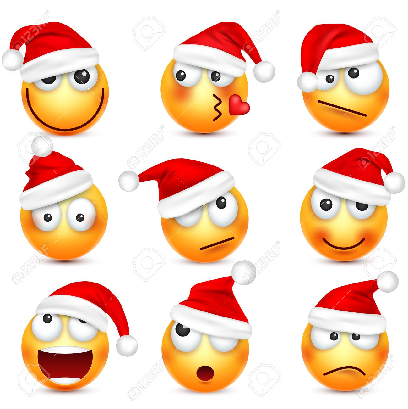 de9376c37f2ce Smiley emoticon set. Yellow face with emotions and Christmas hat. New Year