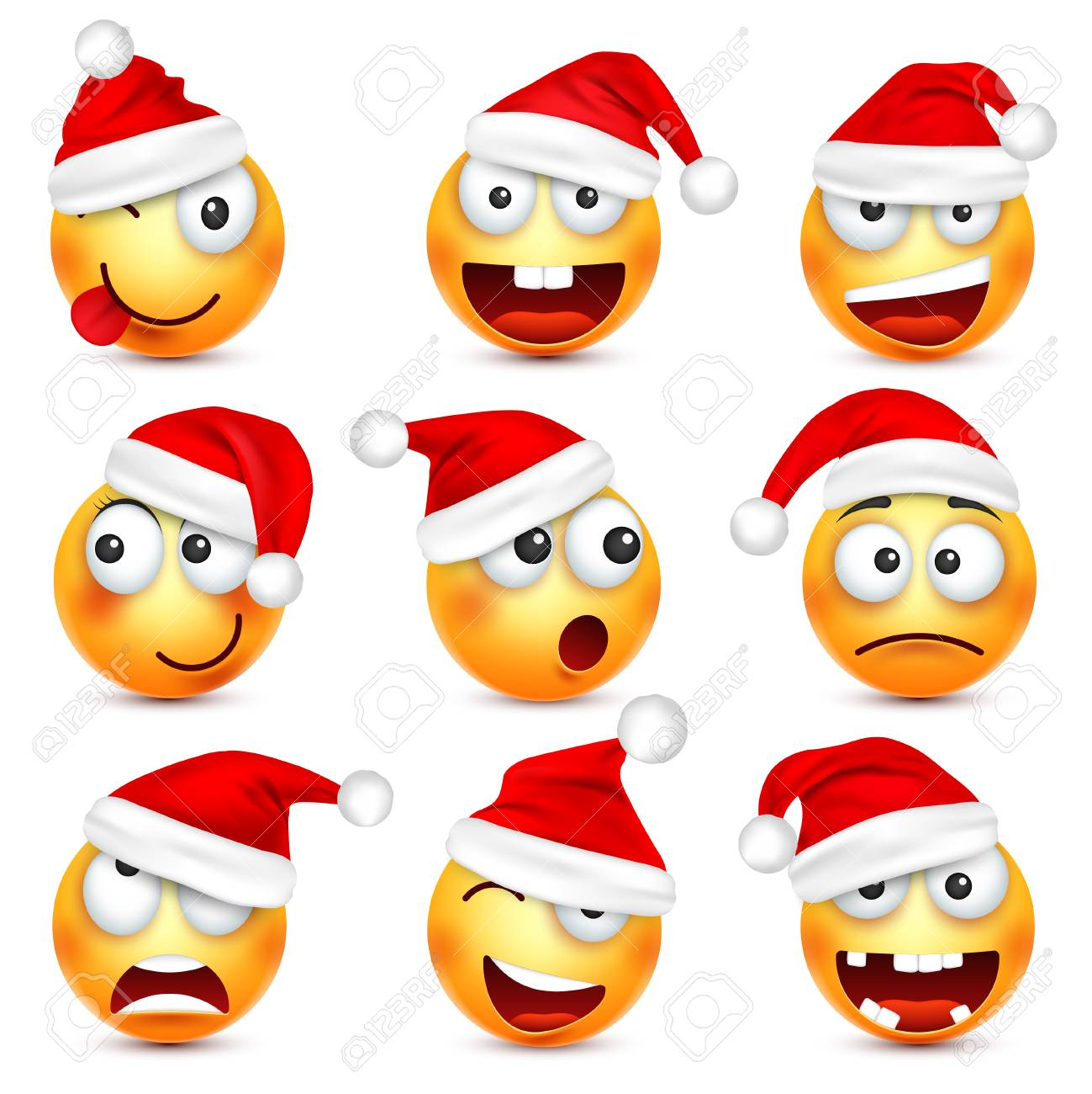 Smiley-Emoticon-Set. Gelbes Gesicht Mit Gefühlen Und Weihnachtshut ...