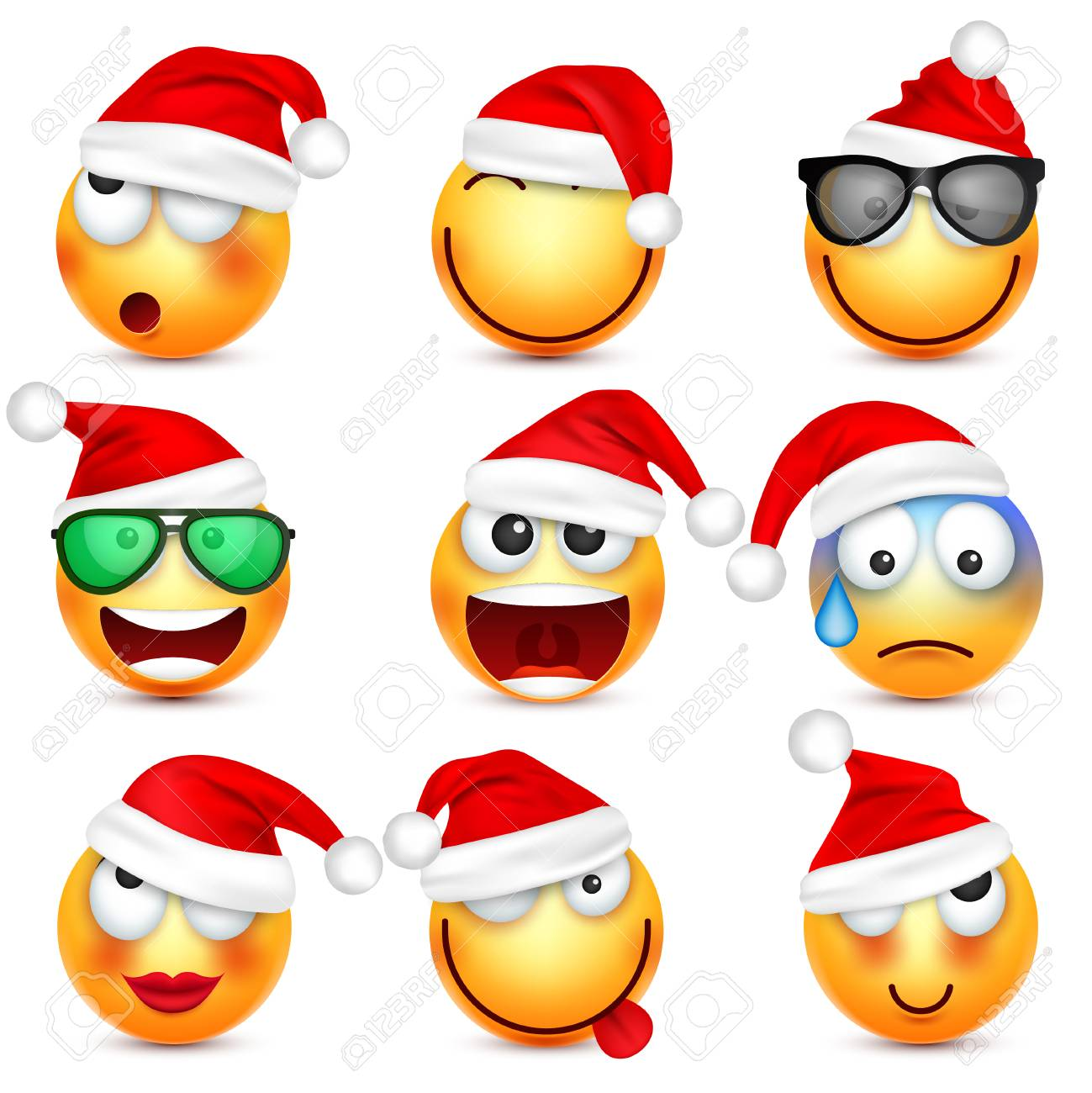 smileyemoticon set yellow face with emotions and christmas hat new year