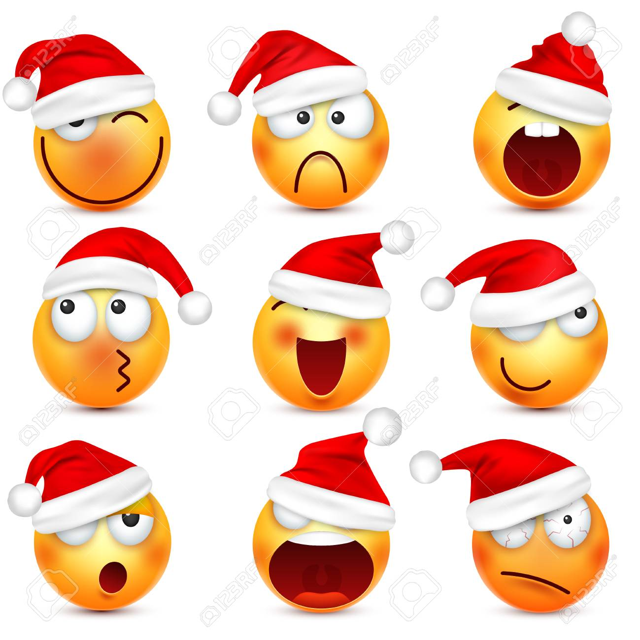 Christmas Emoji.Smiley Emoticon Set Yellow Face With Emotions And Christmas