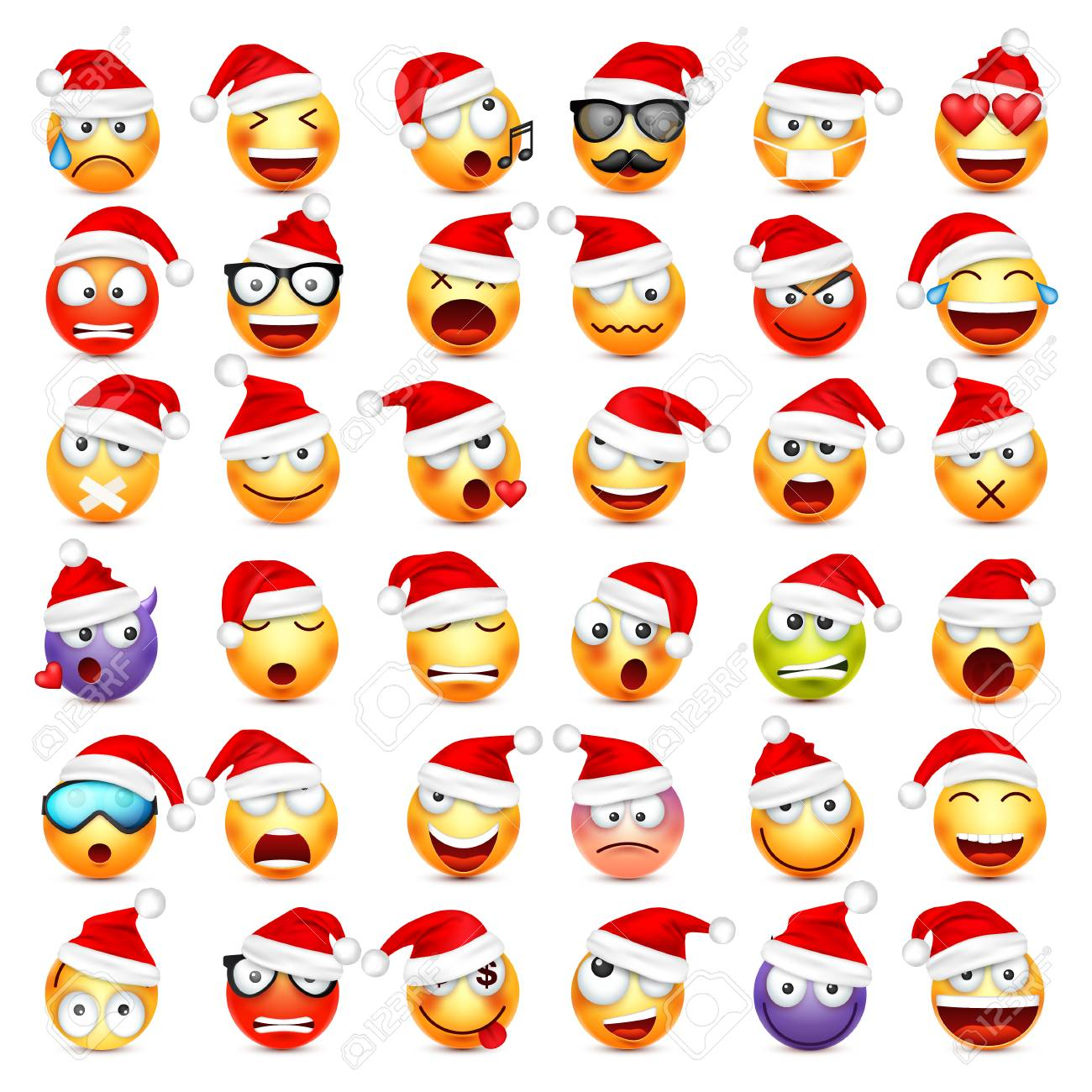 Smiley,emoticon set. Yellow face with emotions and Christmas hat. New Year, Santa. Winter emoji. Sad,happy,angry faces. Funny cartoon character. Mood. - 89064264