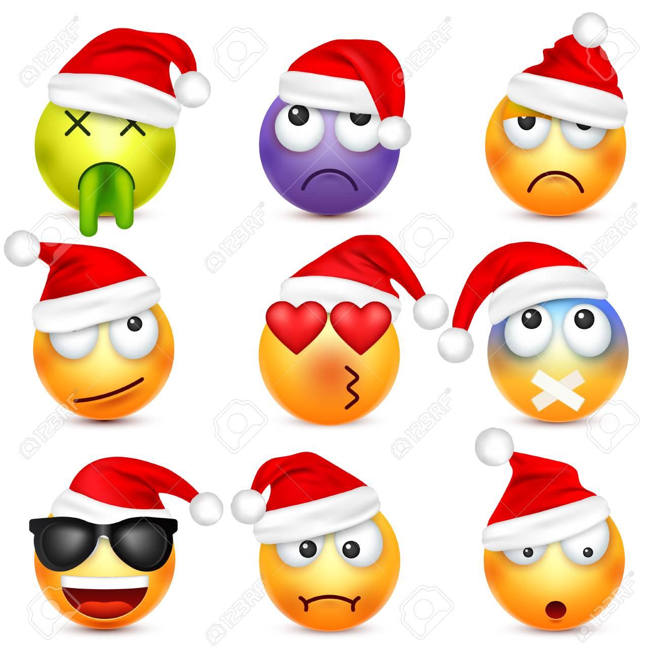 Smiley Jeu D Emoticones Visage Jaune Avec Emotions Et Chapeau De Noel Nouvel An Santa Winter Emoji Visages Triste Heureux En Colere Personnage De Dessin Anime Drole Bonne Humeur Vecteur Clip Art Libres De