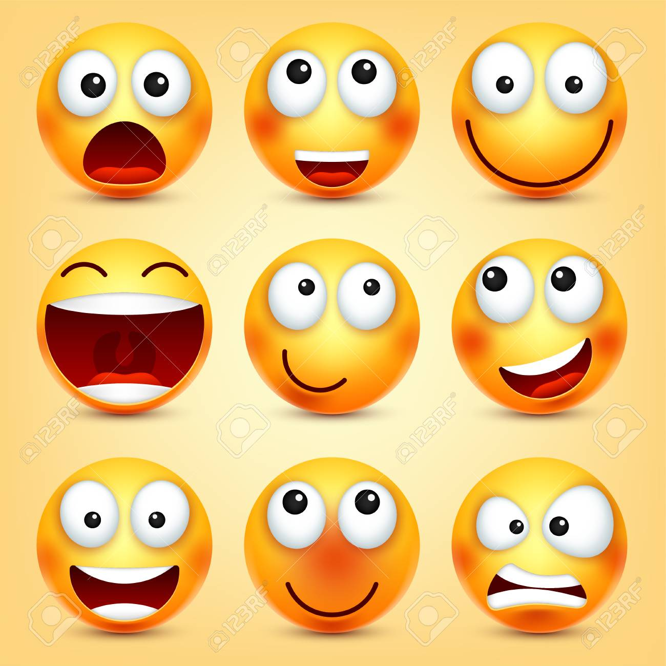 Smiley,emoticons set. Yellow face with emotions. Facial expression. 3d realistic emoji. Funny cartoon character.Mood. Web icon. Vector illustration. - 89855008