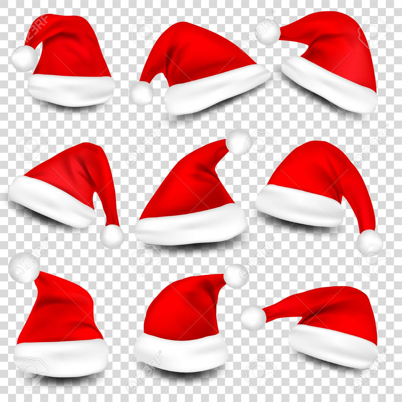 Christmas Santa Hats With Shadow Set. New Year Red Hat Isolated on Transparent Background. Vector illustration. - 89921131
