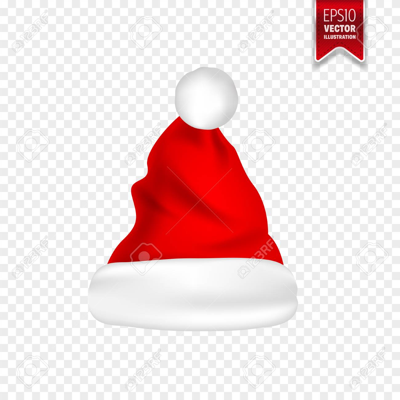 vector illustration christmas santa claus hats with shadow set new year red hat isolated on transparent background