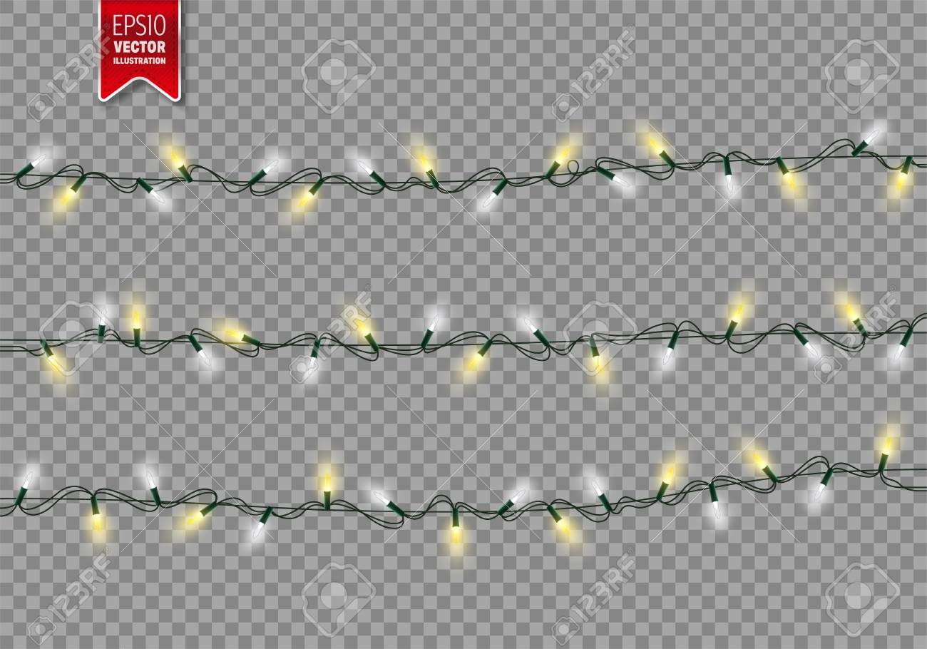Christmas Festive Lights. Decorative Glowing Garland Isolated on Transparent Background. Shiny Colorful Decoration for Christmas and New Year Holidays. - 91470448