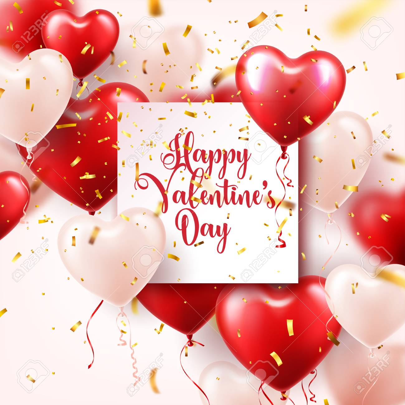 Valentine's day abstract background with red 3d heart shaped balloons and golden confetti. - 94859444