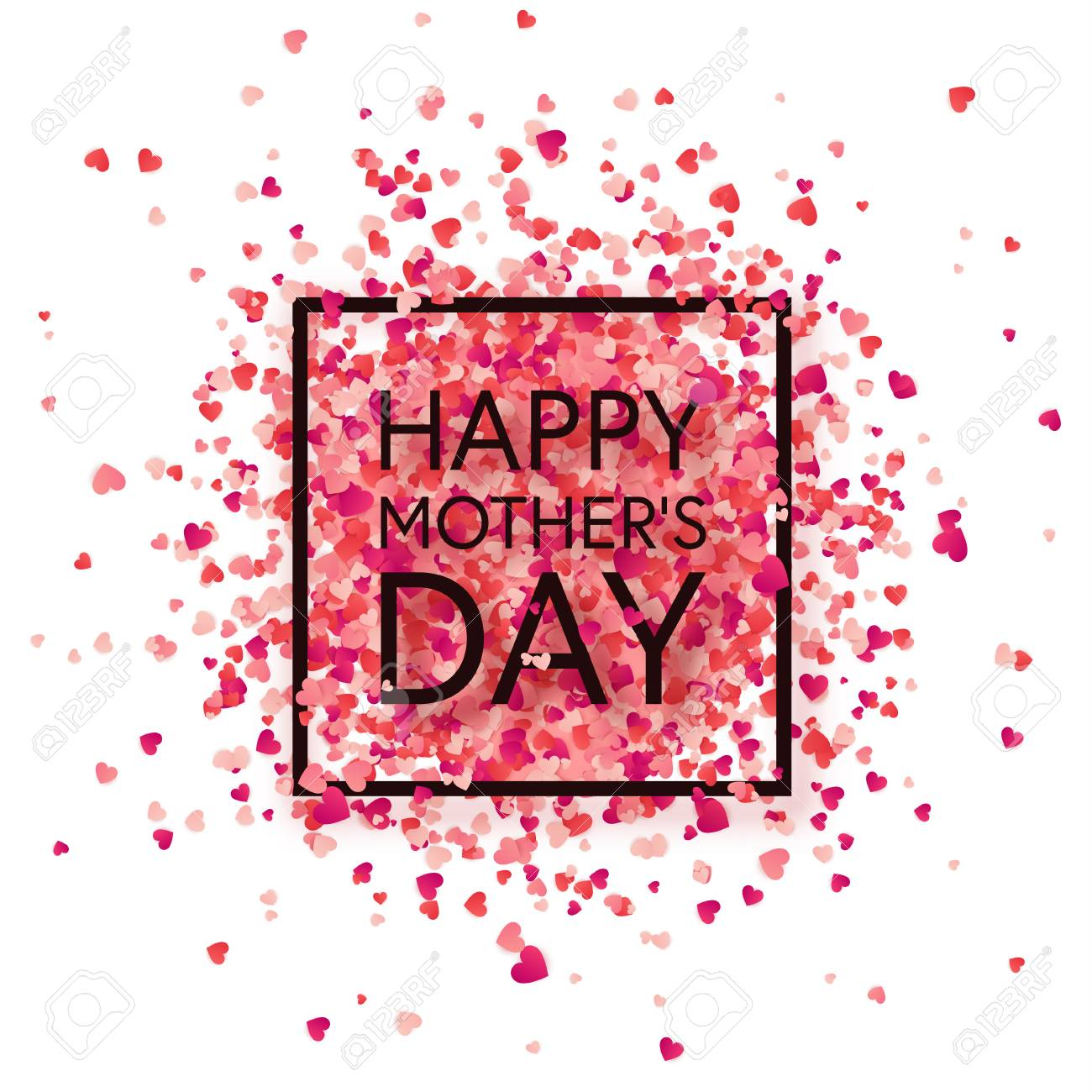 Mothers day background with red hearts. Greeting card, template with lettering. - 98850011