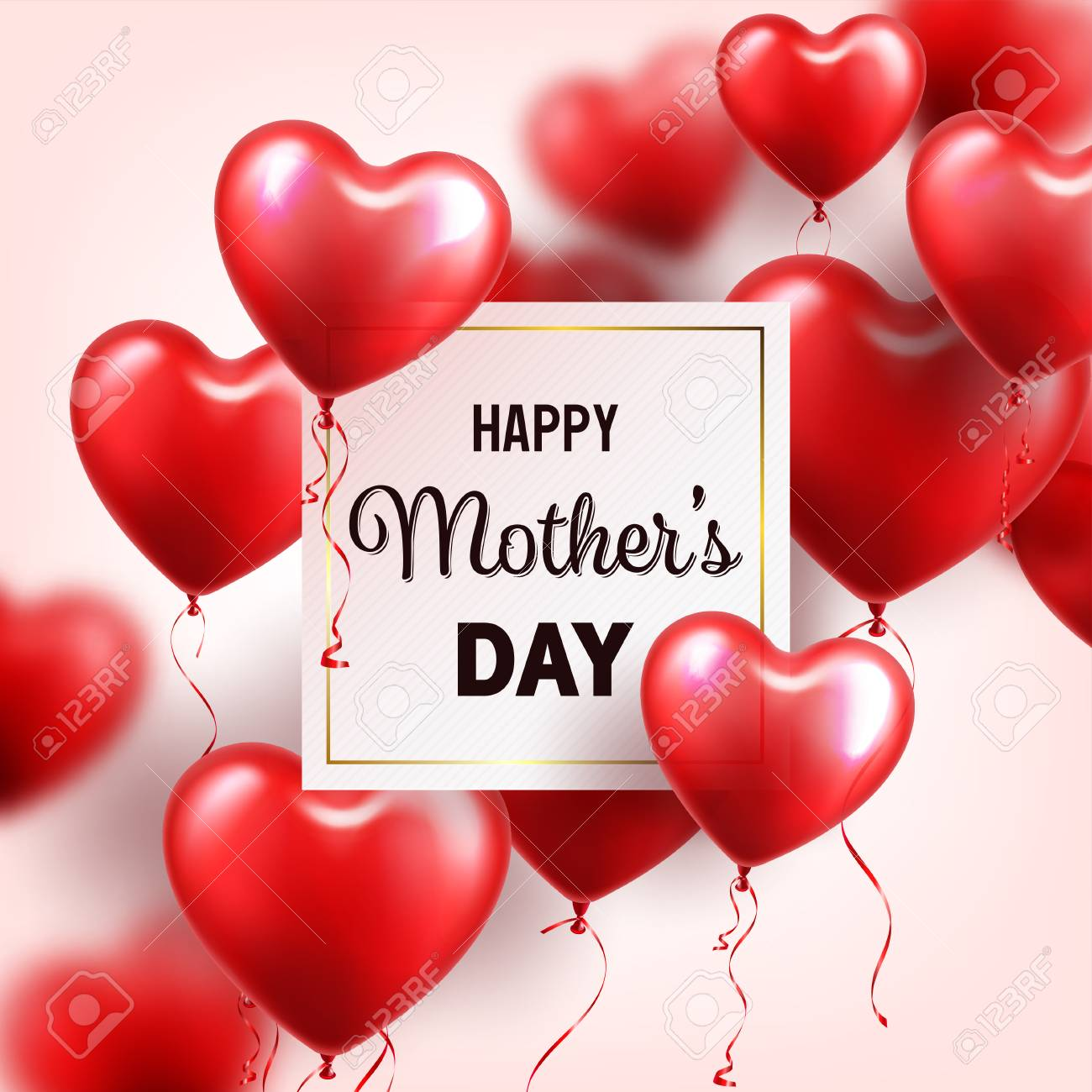 mothers day background with red hearts balloons greeting card