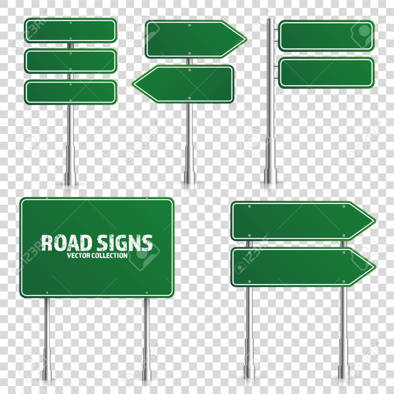 Road green traffic sign. Blank board with place for text.Mockup. Isolated on white information sign. Direction. Vector illustration. - 99603883
