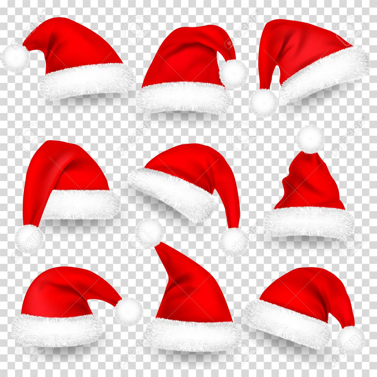 Christmas Santa Hats With Fur and Shadow Set. New Year Red Hat Isolated on Transparent Background. Winter Cap. Vector illustration. - 115591119