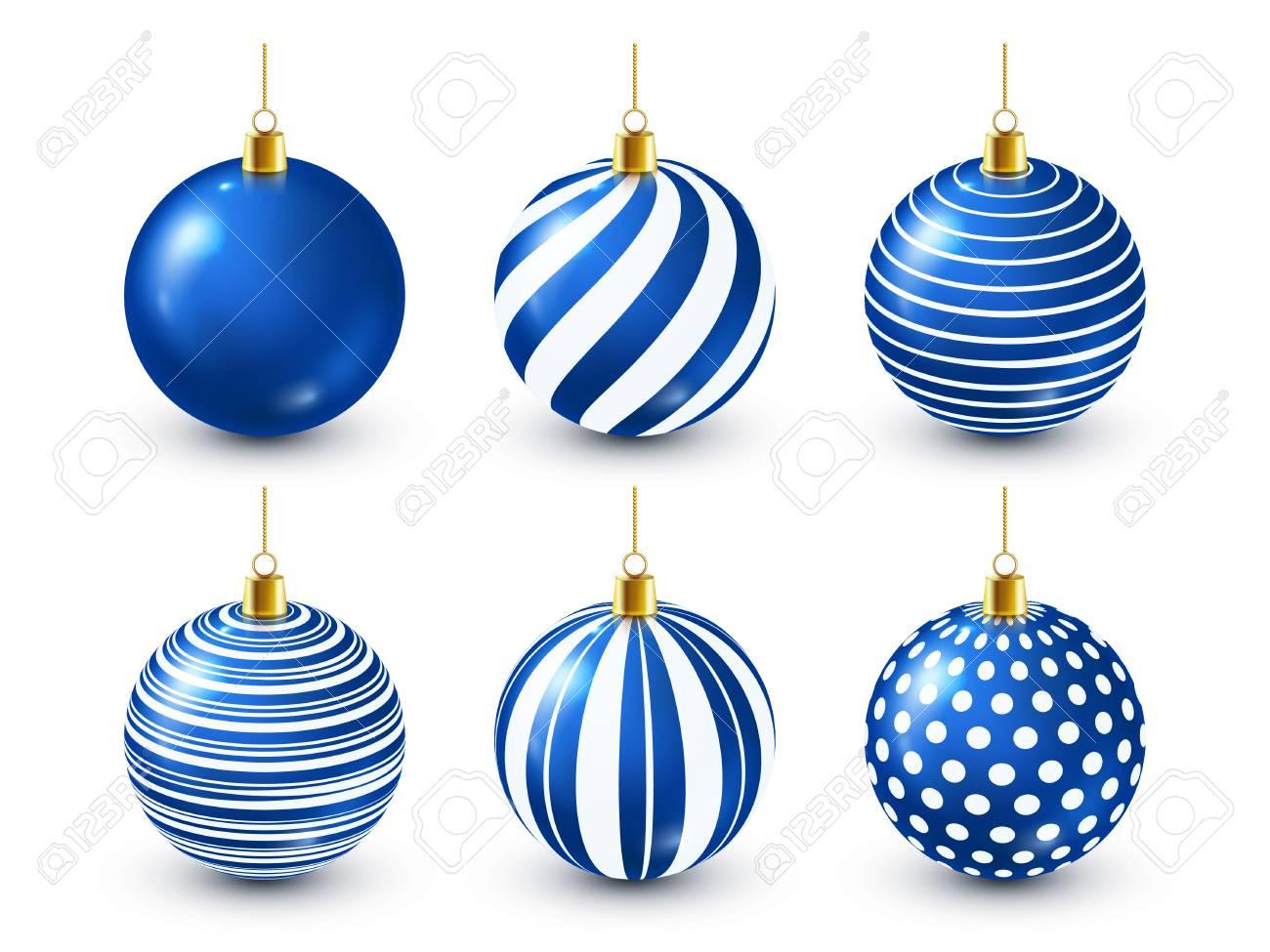 Christmas Tree Shiny Blue Balls Set. New Year Decoration. Winter Season. December Holidays. Greeting Gift Card Or Banner Element - 115591181