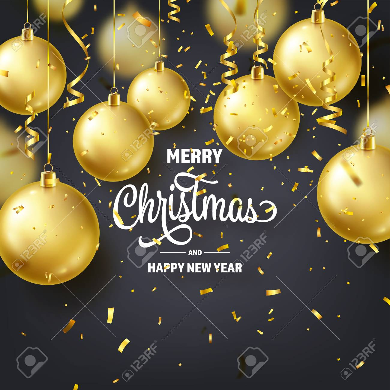 Christmas Background With Tree Balls, Ribbon And Confetti. Golden Ball. New Year. Winter holidays. Season Sale Decoration. Gold Xmas Gift - 115591206