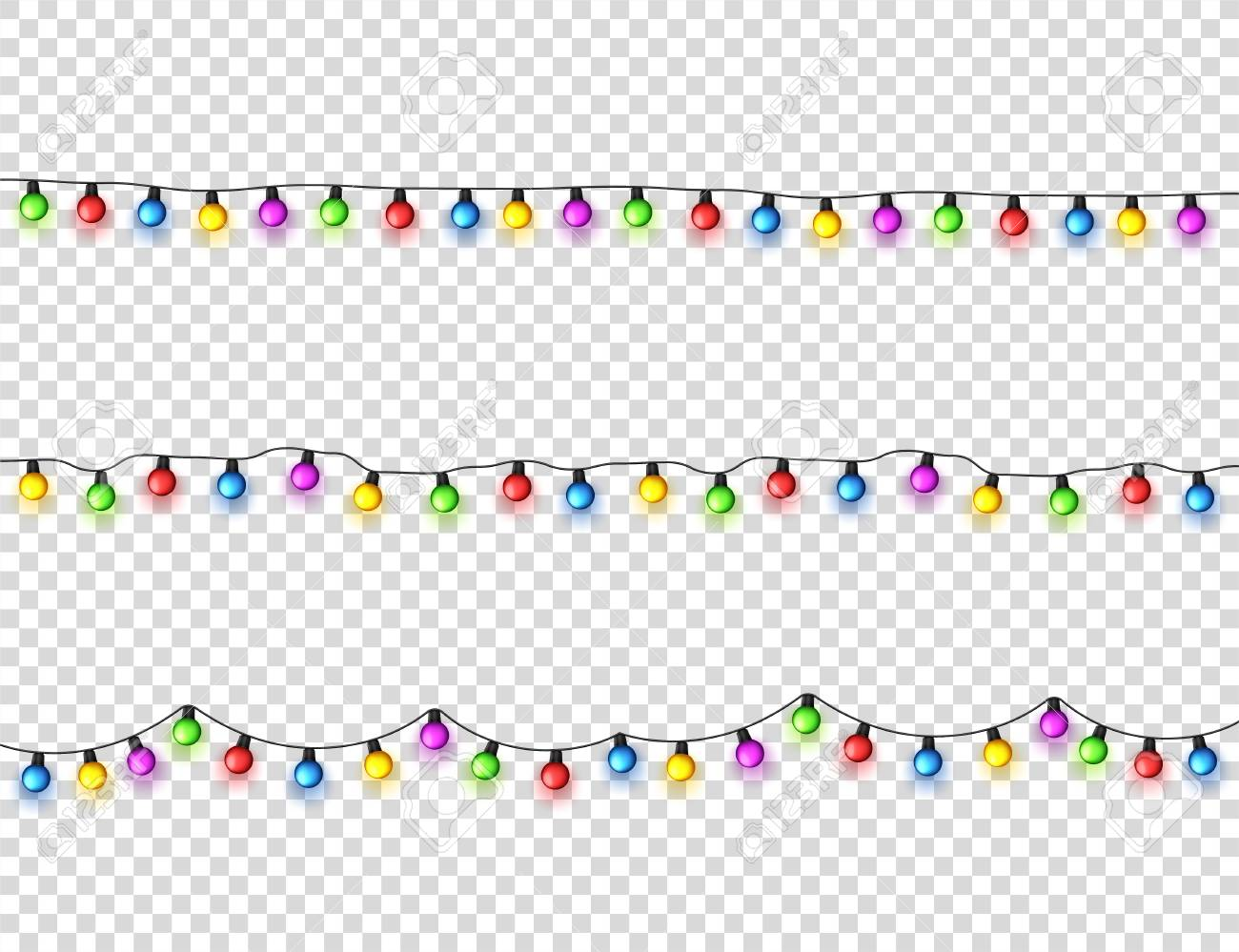 Christmas glowing lights. Garlands with colored small bulbs. Xmas holidays. Christmas greeting card design element. New year,winter - 115591280