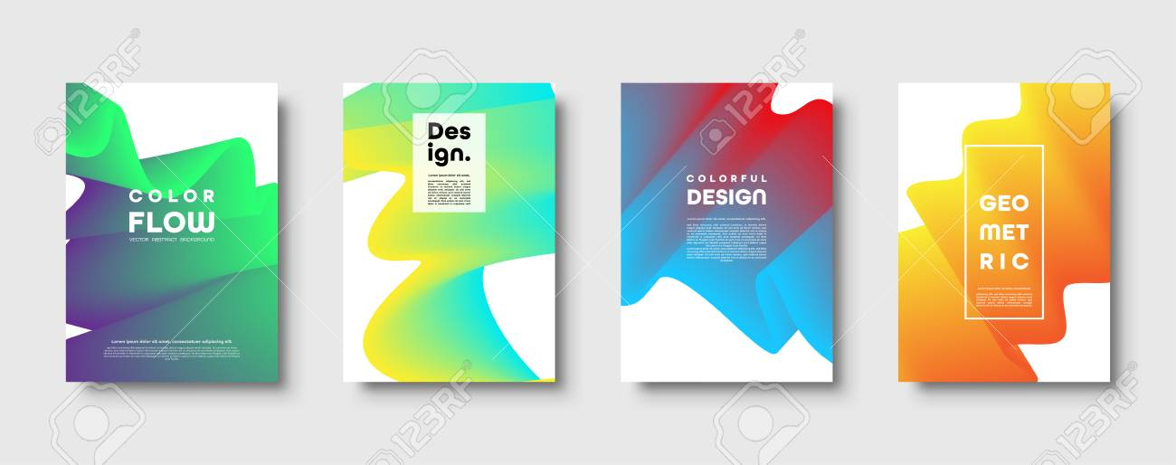 Abstract trendy geometric background with liquid gradient. Colorful blue, red, yellow and green dynamic curve wave. Modern motion banner set. Vector illustration - 124729056