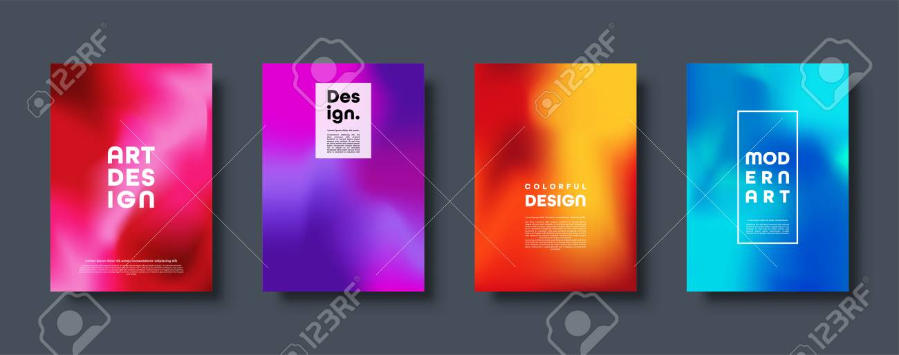 Colorful modern abstract background with neon red, green, blue, purple, yellow and pink gradient. Dynamic color flow poster, banner. Vector illustration - 119914259