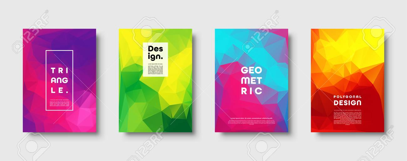 Triangle polygonal abstract background. Colorful gradient design. Low poly shape banner. Vector illustration - 119914265