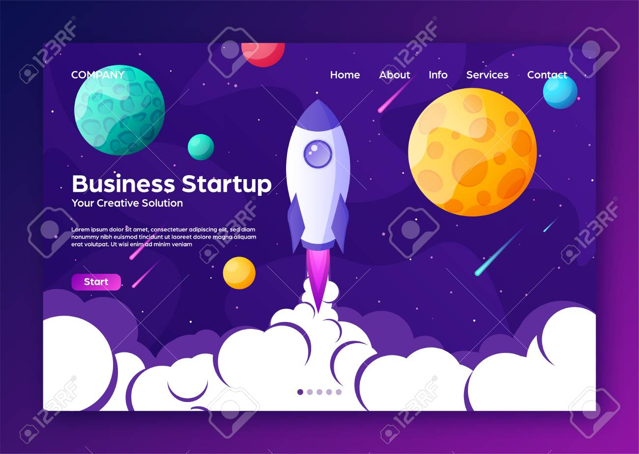 Website landing home page with rocket. Business project startup and development modern flat background. Mobile web design template. Space travel on a rocketship. Vector illustration. - 119914327