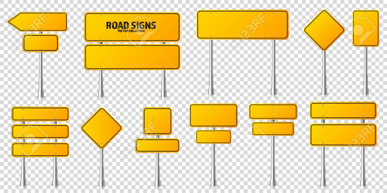 Road yellow traffic signs set. Blank board with place for text. Mockup. Isolated information sign. Direction. Vector illustration - 122893610