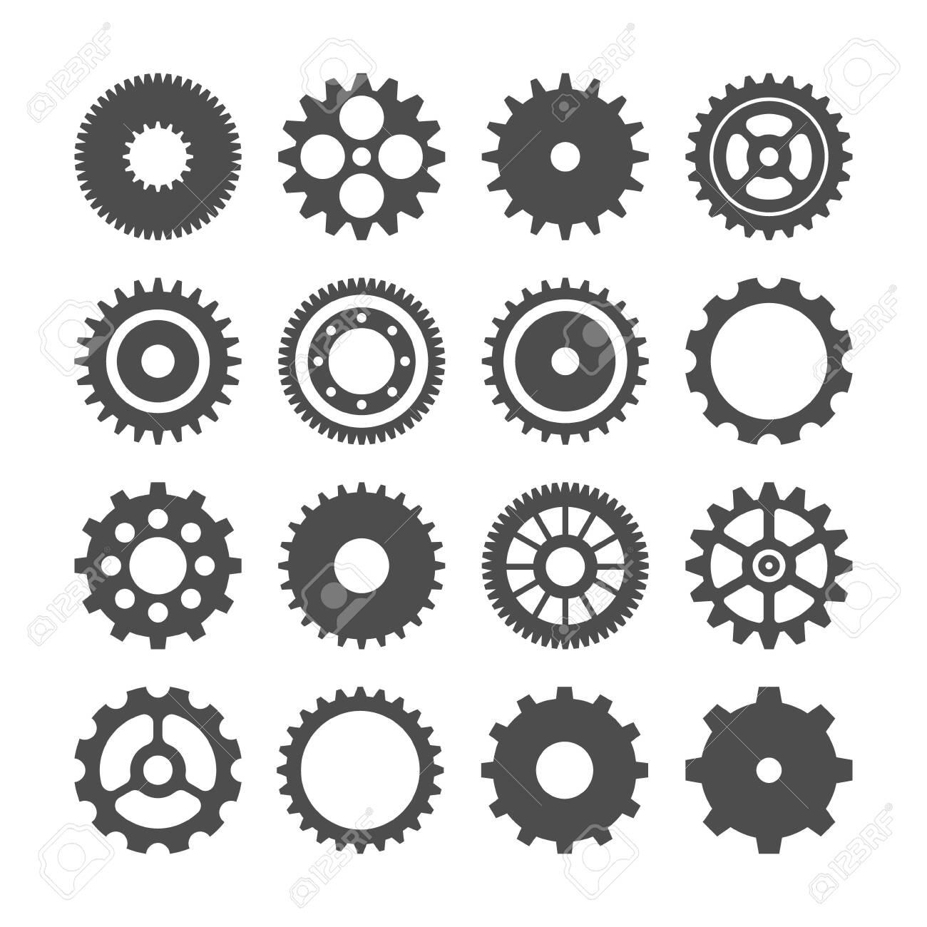 Gear wheels set. Retro vintage cogwheels collection. Industrial icons. Vector illustration - 126493937