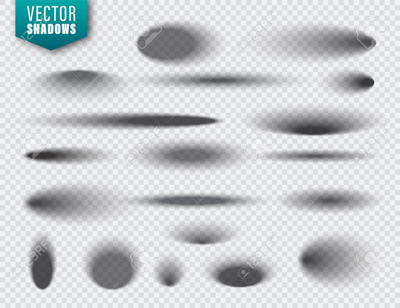Vector shadows set on transparent background. Realistic isolated shadow. Vector illustration - 128183026