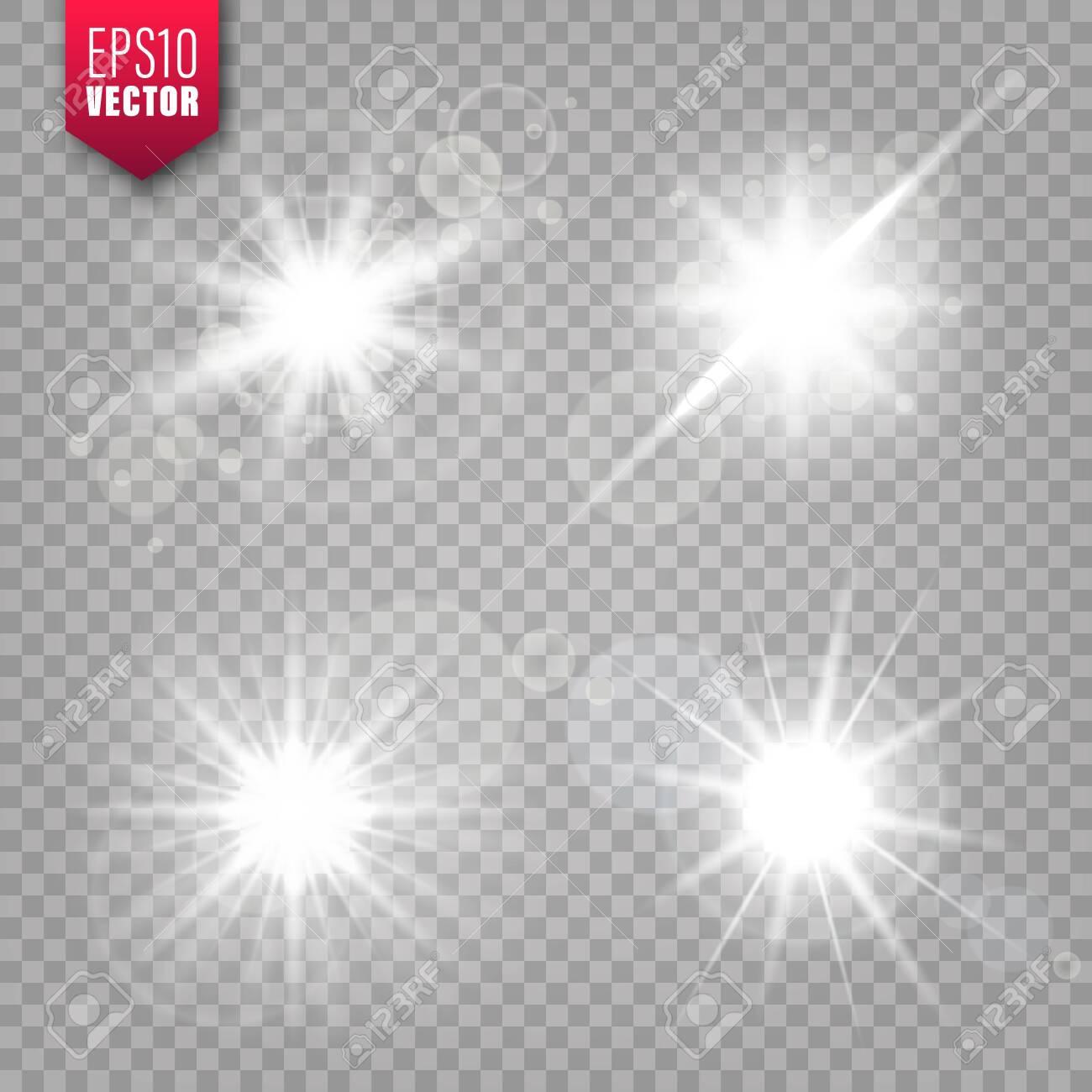 Glowing lights set on transparent background. Lens flare effect. Bright sparkling flash, sunlight. Vector illustration. - 126493959