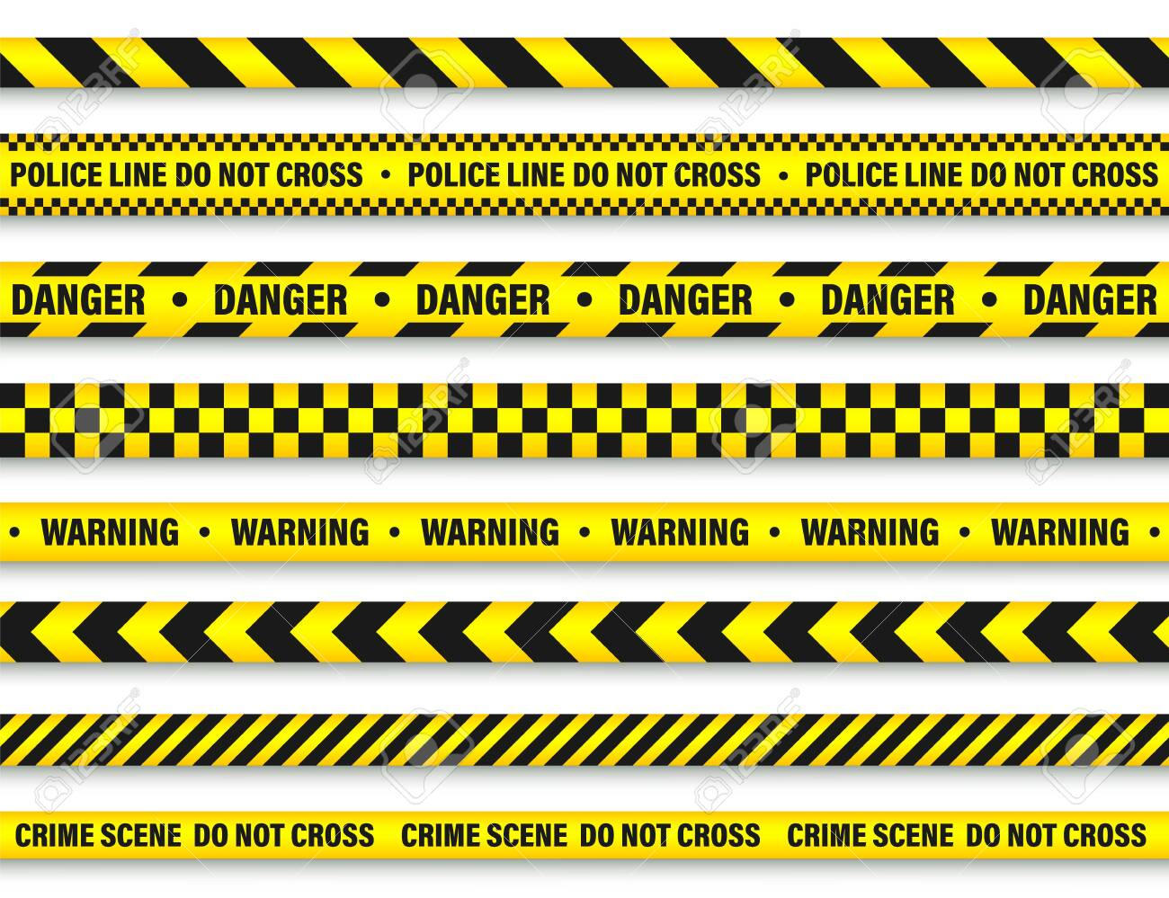 Yellow And Black Barricade Construction Tape. - 129392388