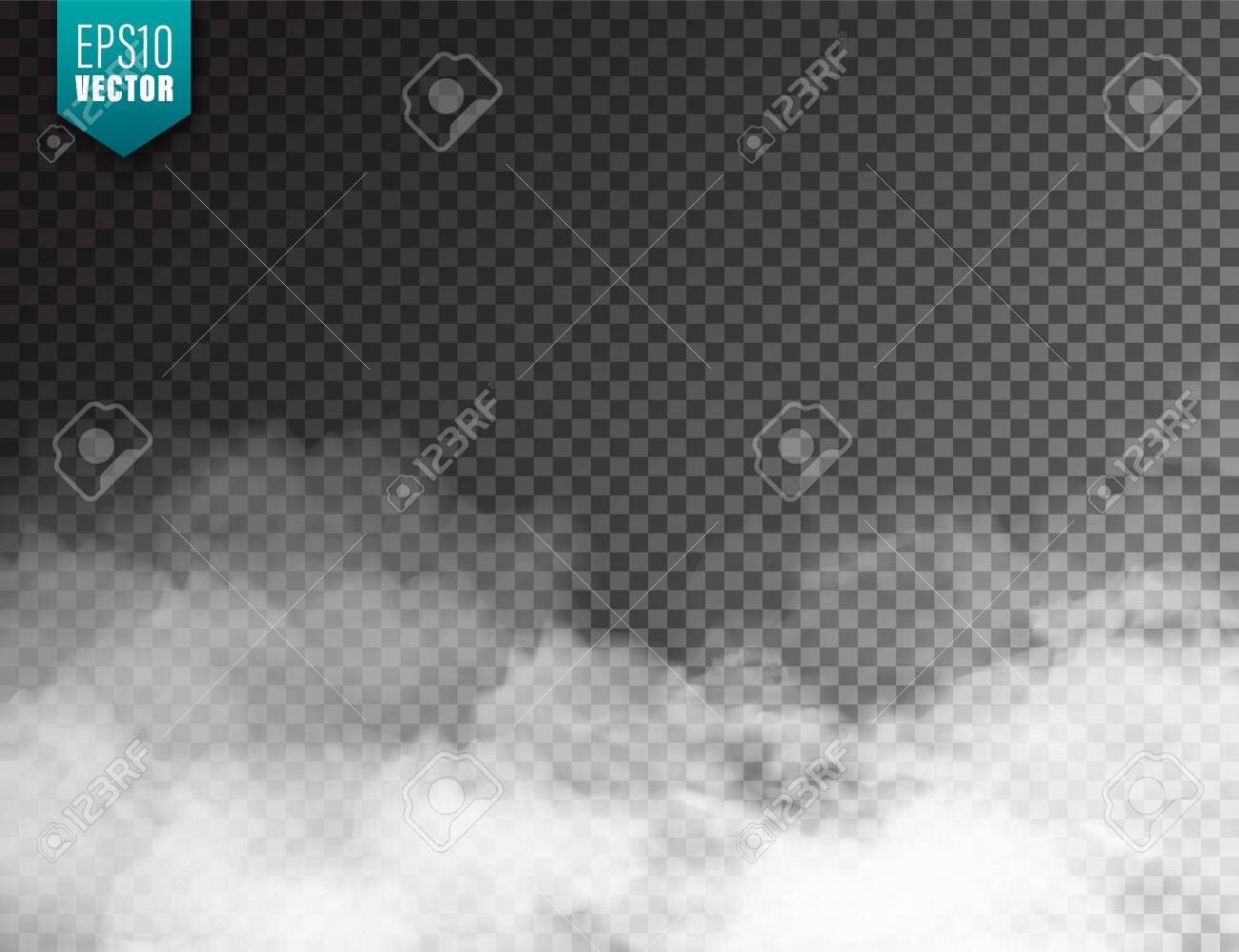 Realistic fog, mist effect. Smoke isolated on transparent background. Vector vapor in air, steam flow. Clouds - 129395496