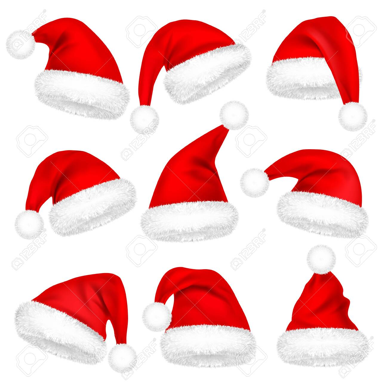 Christmas Santa Claus Hats With Fur Set. New Year Red Hat Isolated on White Background. Winter Cap. Vector illustration - 129395539
