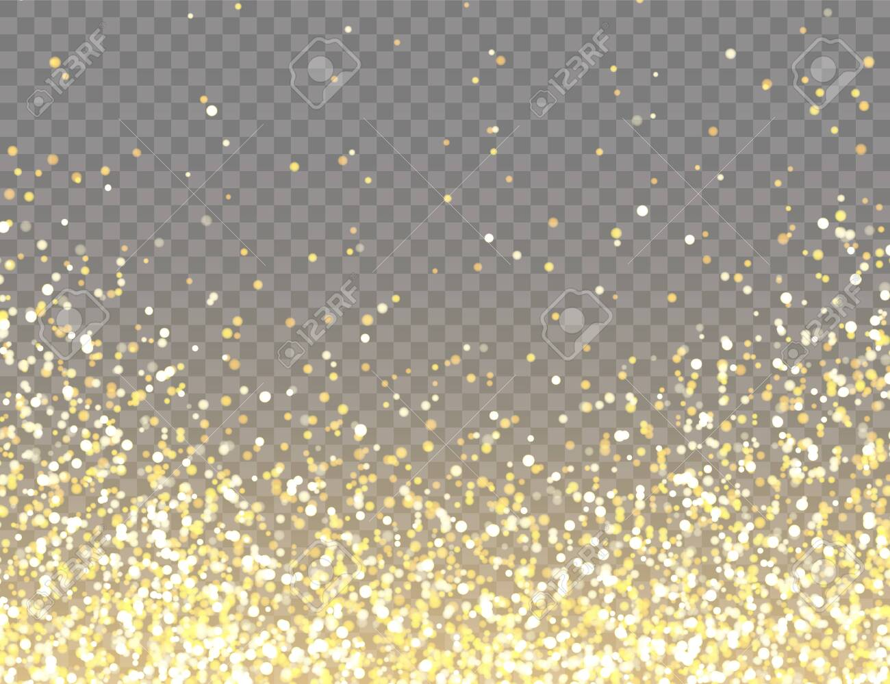 Sparkling Golden Glitter with Bokeh Lights on Transparent Vector Background. Falling Shiny Confetti with Gold Shards. Shining Light Effect for Christmas or New Year Greeting Card - 129395602
