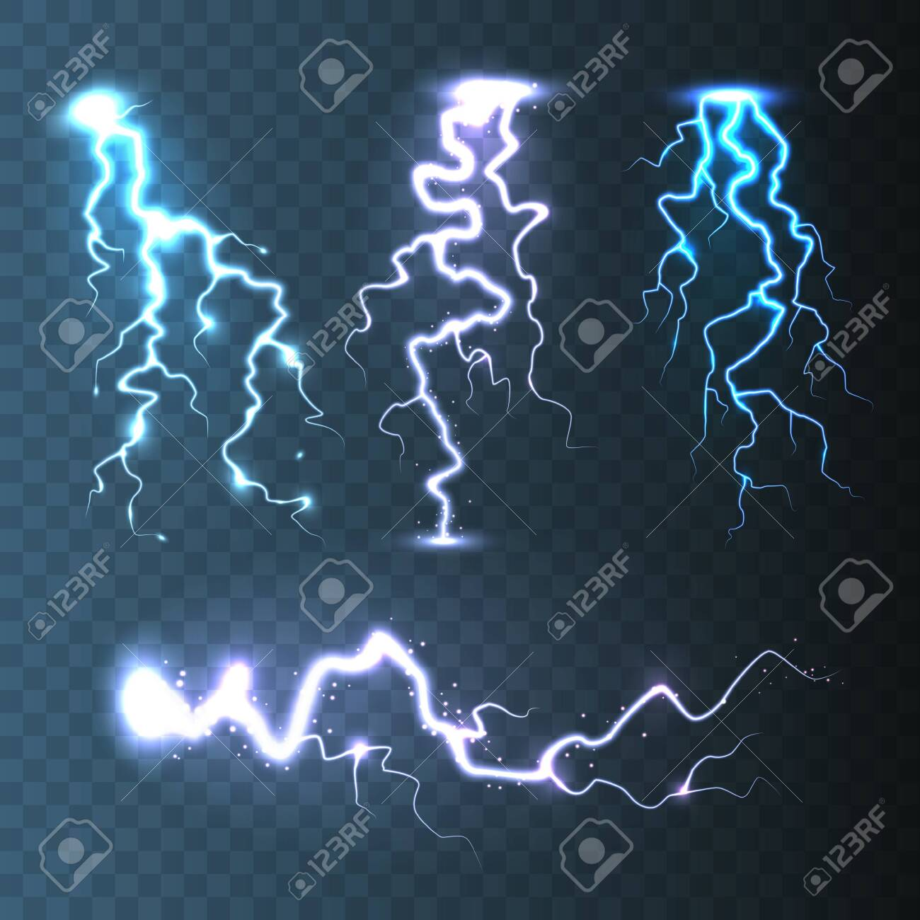 Realistic Lightning Collection On Blue Transparent Background Royalty Free Cliparts Vectors And Stock Illustration Image 133383905