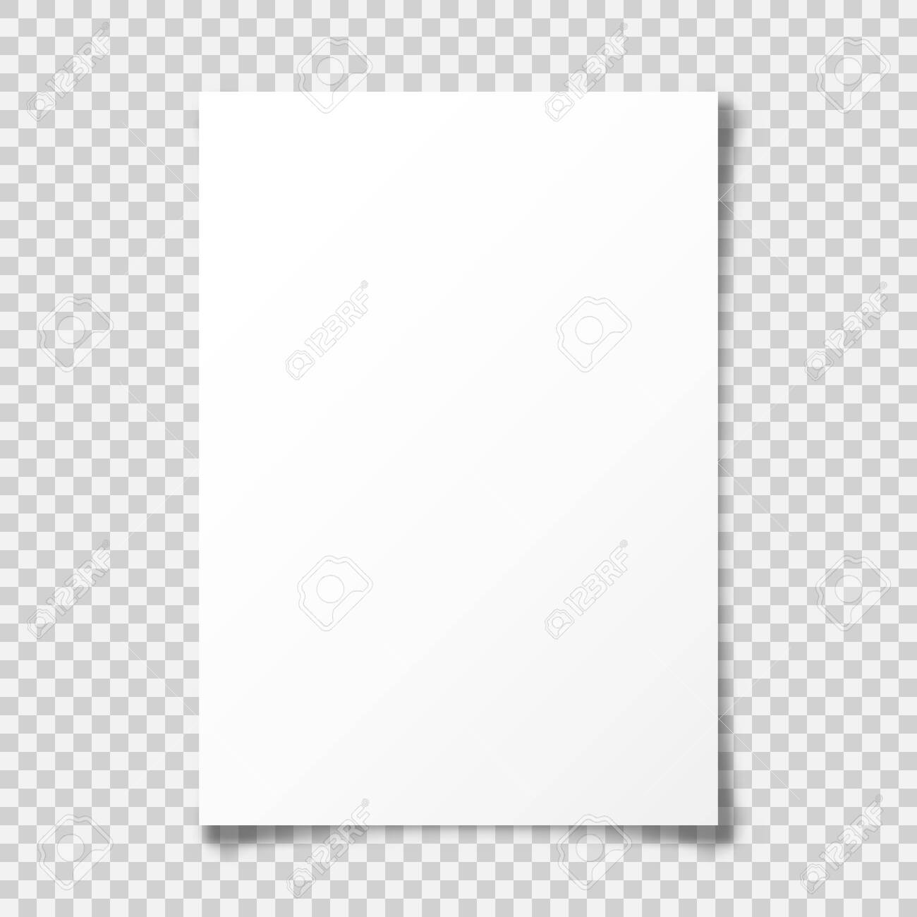 Realistic blank paper sheet with shadow in A4 format on transparent background. Notebook or book page with curled corner. Vector illustration. - 131421512