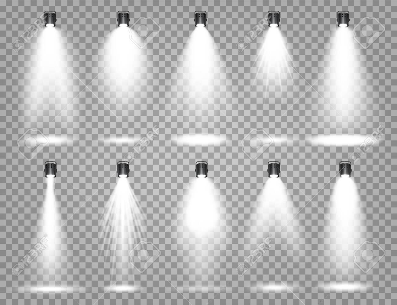 Vector spotlight set. Bright light beam. Transparent realistic effect. Stage lighting. Illuminated studio spotlights - 133383941