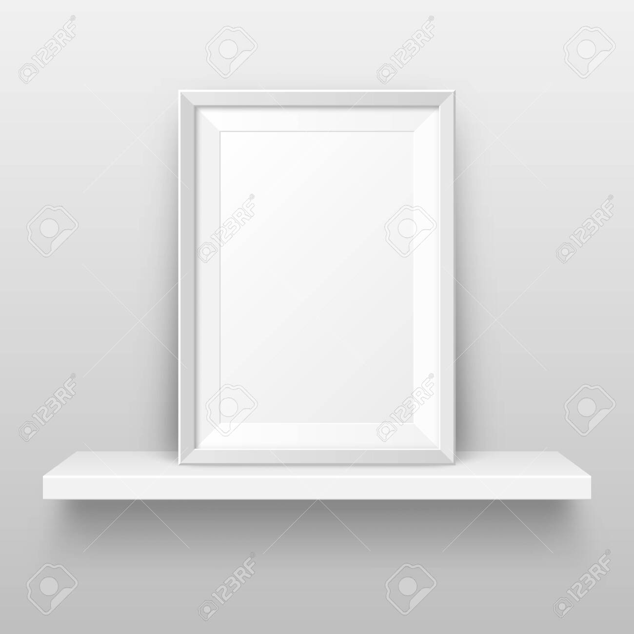 Realistic Wall Shelf With Empty Picture Frame Poster Mockup