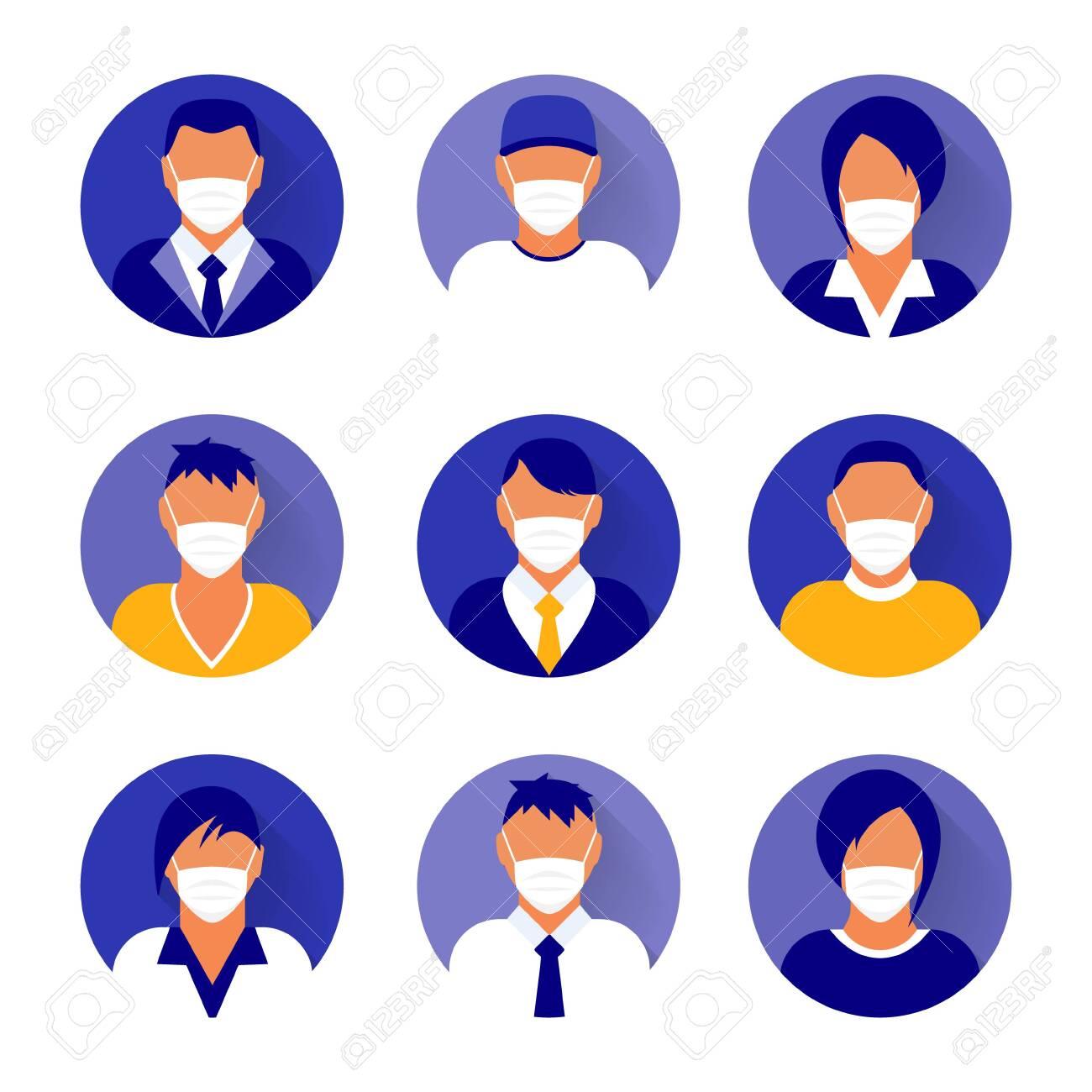 Flat modern minimal avatar icons with medical mask. - 143227824